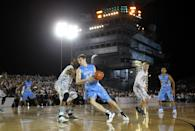 CORONADO, CA - NOVEMBER 11: Tyler Zeller #44 of the North Carolina Tar Heels posts up against the Michigan State Spartans during the Quicken Loans Carrier Classic on board the USS Carl Vinson on November 11, 2011 in Coronado, California. (Photo by Ezra Shaw/Getty Images)