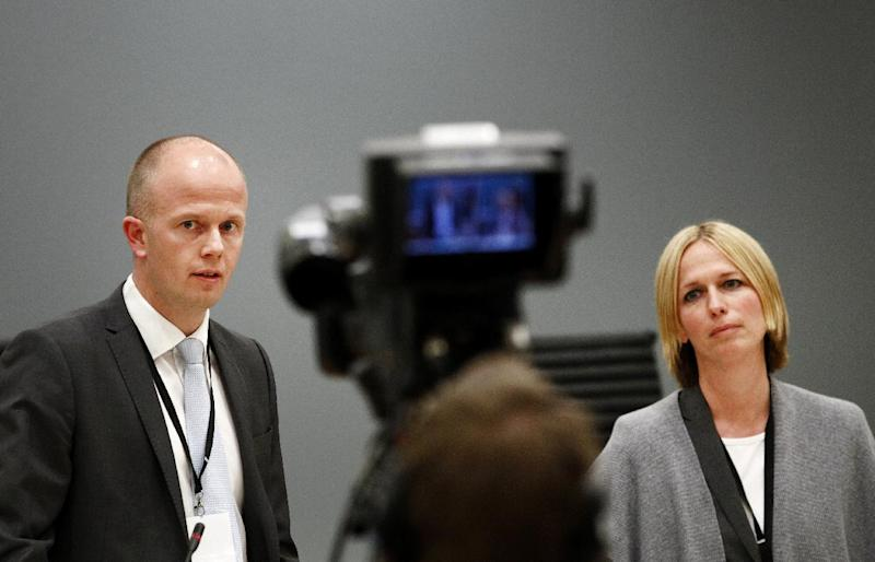 "Prosecutors Svein Holden, left, and Inga Bejer Engh at the press conference after day three of the trial against Anders Behring Breivik, in Oslo Wednesday, April 18, 2012. Norway's prison terms are ""pathetic,"" mass killer Anders Behring Breivik declared Wednesday in court, claiming the death penalty or a full acquittal were the ""only logical outcomes"" for his massacre of 77 people. The right-wing fanatic said he doesn't fear death and that militant nationalists in Europe have a lot to learn from al-Qaida, including their methods and glorification of martyrdom. (AP Photo/Scanpix, Erlend Aas)"