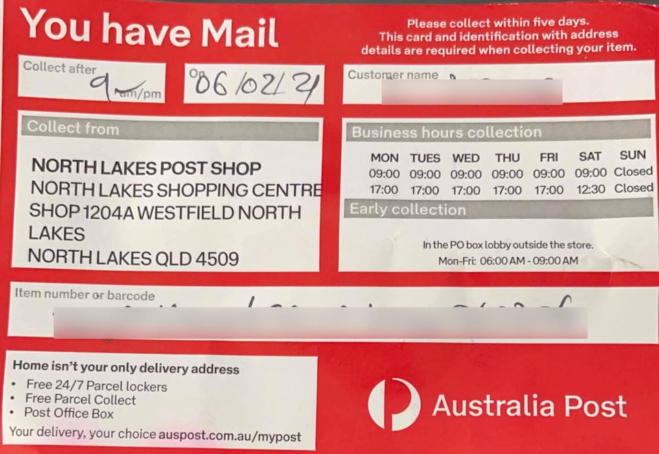 A collection notice left by an Australia Post employee