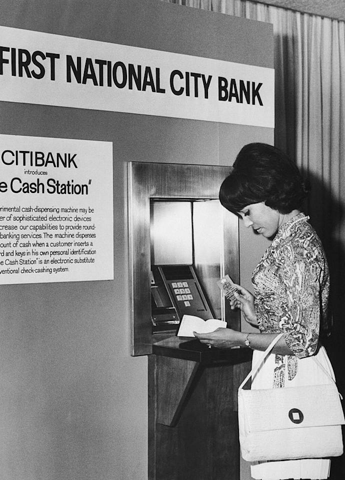 "<p>Although Barclays introduced the world's first automated teller machine <span class=""redactor-invisible-space""></span>in London in 1967, ATMs didn't make their way across the big pond <a href=""http://www.history.com/this-day-in-history/first-atm-opens-for-business"" target=""_blank"">until 1969</a>. </p><p><span class=""redactor-invisible-space""></span></p>"