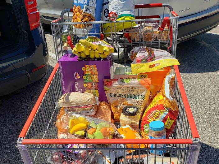 cart of costco groceries in the parking lot