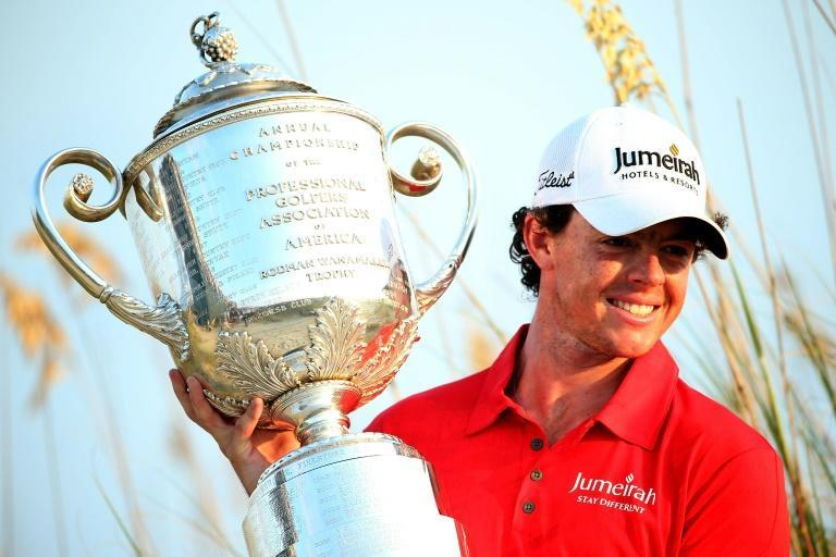 Rory McIlroy celebrates winning the 2012 PGA Championship at Kiawah Island. Now he back seeking his first major win in seven years