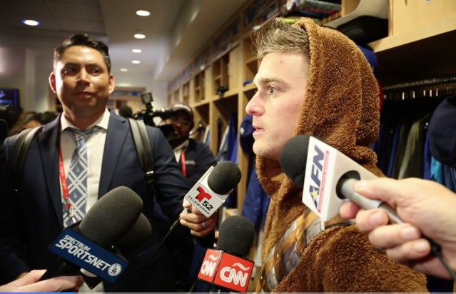 Dodgers utility man Kiké Hernandez put on his Chewbacca costume after World Series Game 6. (Yahoo Sports)