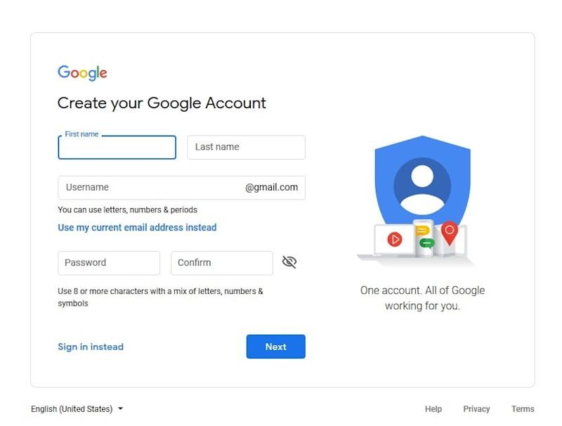 Create a Google Account webpage screenshot