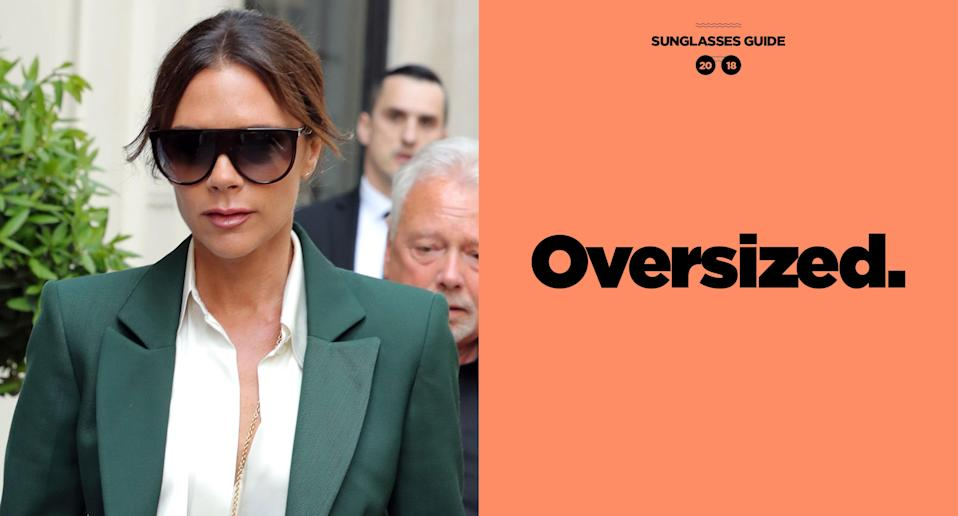 """<p>Victora Beckham embraces her """"dark but happy place"""" mood with oversize black frames that have become synonymous with her fashion look. (Photo: Getty Images; art: Quinn Lemmers for Yahoo Lifestyle) </p>"""