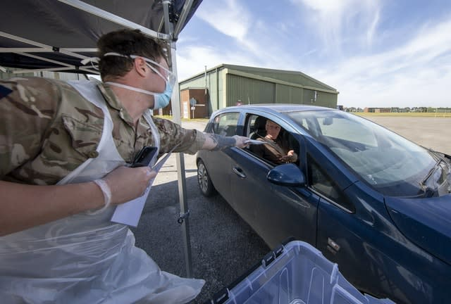 A Covid test is carried out (Sgt Lee Goddard/MoD/PA)