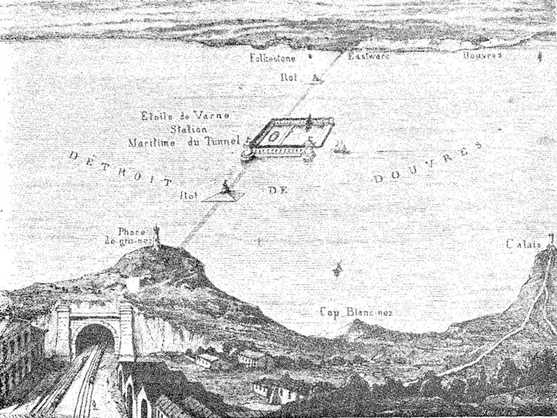 Thomé de Gamond's 1856 plan for a Channel tunnel, with a harbour mid-Channel on the Varne sandbank. The Frenchman presented seven design proposals, eventually persuading Queen Victoria, but not PM Lord Palmerston. (Creative Commons)