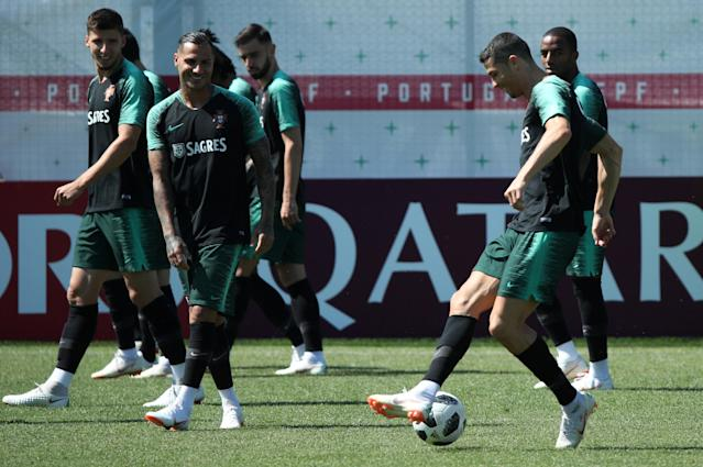 Soccer Football - World Cup - Portugal Training - Portugal Training Camp, Moscow, Russia - June 22, 2018 Portugal's Cristiano Ronaldo and team mates during training. REUTERS/Albert Gea