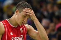 Serbia's Bogdan Bogdanovic reacts after losing to USA in their Group A basketball match, at the Rio 2016 Olympic Games, on August 12 (AFP Photo/Andrej Isakovic)