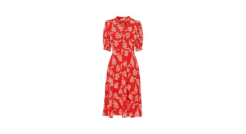 Marceau Red Bow Print Silk Dress