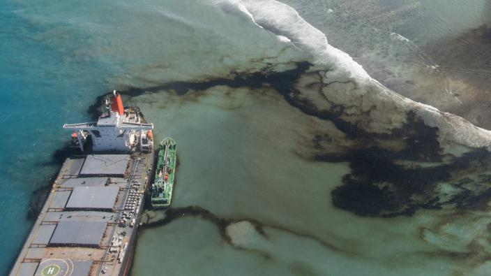 FILE - This Tuesday, Aug. 11, 2020 photo provided by the French Army shows oil leaking from the MV Wakashio, a bulk carrier ship that ran aground on a coral reef off the southeast coast of Mauritius. A decade-long effort by the world to save the world's disappearing species and declining ecosystems has mostly failed so far, with fragile ecosystems like coral reefs and tropical forests in even more trouble than ever, according to a United Nations biodiversity report released on Tuesday, Sept. 15, 2020. (Gwendoline Defente/EMAE via AP)
