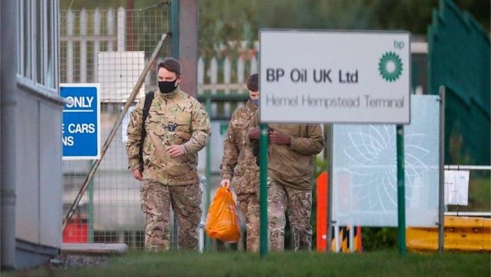 Army personnel at BP depot