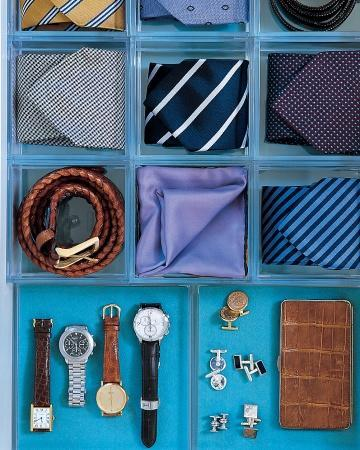 """<div class=""""caption-credit""""> Photo by: Martha Stewart Living</div><b>Accessory Trays</b> <br> Square acrylic organizers give ties and belts their own homes. Underneath, blue acid-free mat board lines the drawer for extra color. Additional trays are cushioned with coordinating felt to protect the jewelry inside. <br> <b>Related:</b> <br> <b><a href=""""http://www.marthastewart.com/275539/bedroom-decorating-ideas/@center/277006/bedroom-and-bathroom-decorating?xsc=synd_yshine"""" rel=""""nofollow noopener"""" target=""""_blank"""" data-ylk=""""slk:23 Ways to Decorate Your Bedroom"""" class=""""link rapid-noclick-resp"""">23 Ways to Decorate Your Bedroom</a> <br> <a href=""""http://www.marthastewart.com/275280/bathroom-organization-tips/@center/277006/bedroom-and-bathroom-decorating?xsc=synd_yshine"""" rel=""""nofollow noopener"""" target=""""_blank"""" data-ylk=""""slk:24 Ways to Organize Your Bathroom"""" class=""""link rapid-noclick-resp"""">24 Ways to Organize Your Bathroom</a></b> <br>"""