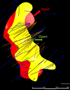 Plan view showing mineralization remains open to the north (base metal) and to the east (gold and copper-gold) of the 1901 deposit