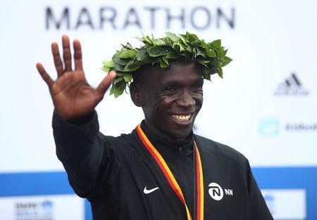 FILE PHOTO: Berlin Marathon - Berlin, Germany - September 24, 2017 Kenya's Eliud Kipchoge celebrates after winning the men's race REUTERS/Michael Dalder/File Photo