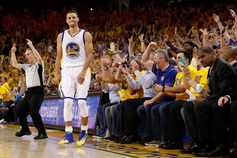 bba0808a3ce Stephen Curry of the Golden State Warriors reacts to his three-point shot  against the