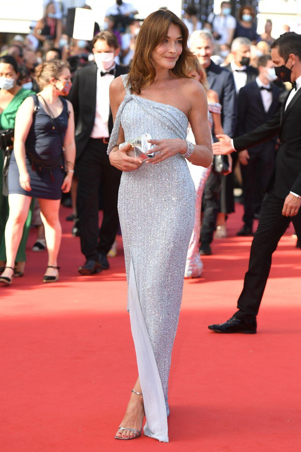 <p>Carla Bruni opted for a one-shouldered sequin gown. </p>