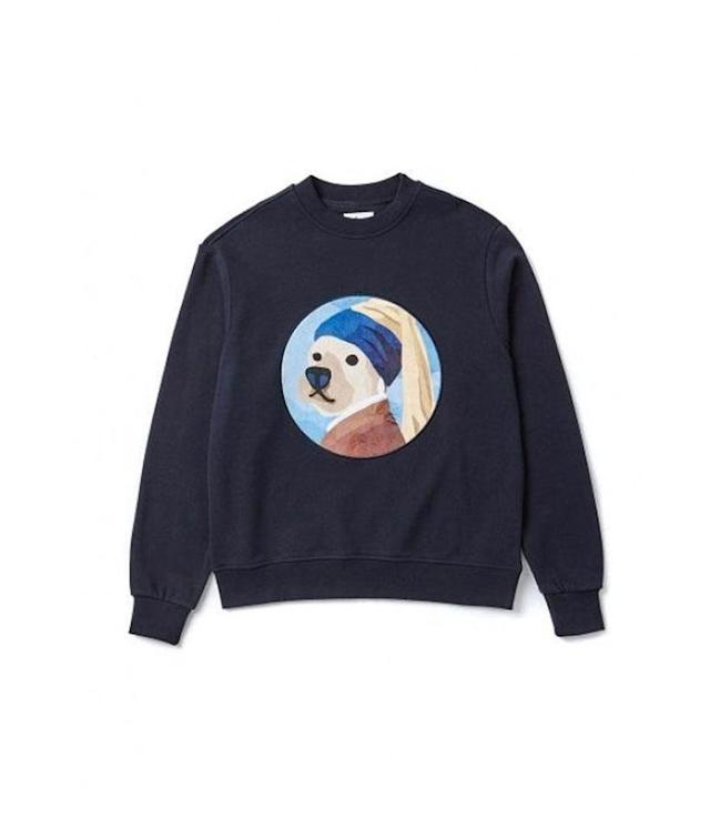 "<p>Pearl Earring Dog Sweat-shirt, $103, <a href=""http://us.wconcept.com/pearl-earring-dog-patch-sweat-shirts-navy.html"" rel=""nofollow noopener"" target=""_blank"" data-ylk=""slk:wconcept.com"" class=""link rapid-noclick-resp"">wconcept.com</a> </p>"