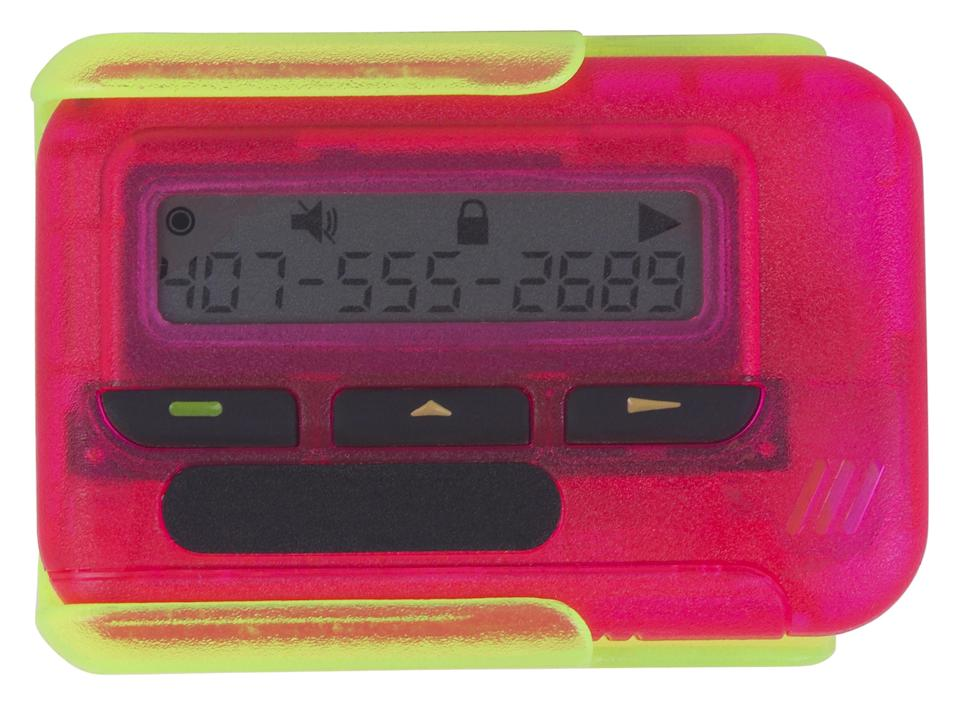 A hot pink beeper with lime green case
