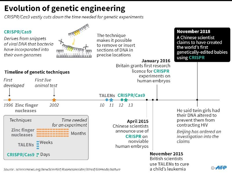Fact file on the development of the CRISPr gene-editing technique. A Chinese scientist has claimed to have created the word's first genetically- edited babies. (AFP Photo/John SAEKI)