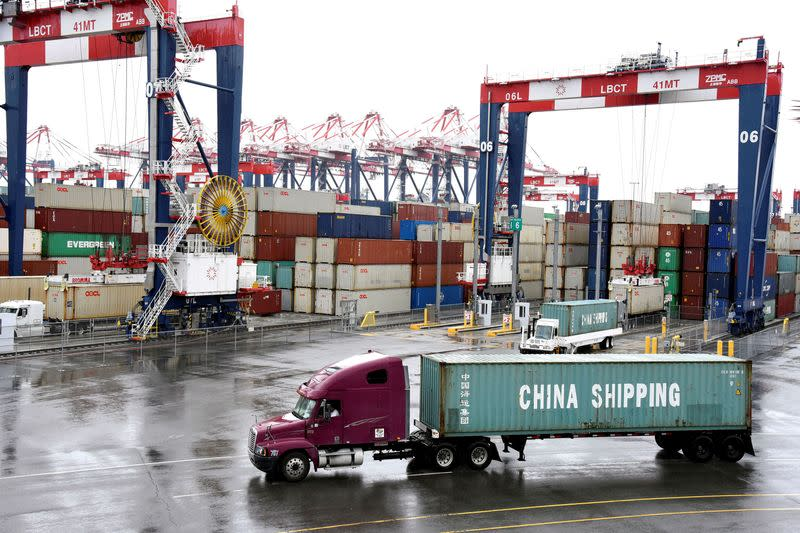 FILE PHOTO: Containers are seen at the port in San Pedro, California