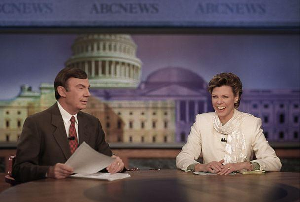 PHOTO: Sam Donaldson and Cokie Roberts anchor 'This Week' on ABC, Jan. 23, 1997. (Terry Ashe/ABC)