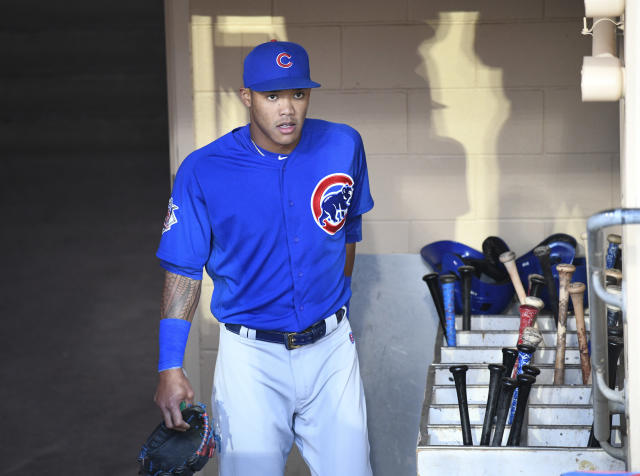 Major League Baseball has suspended Addison Russell 40 games for violating MLB's domestic violence policy. (Photo by Denis Poroy/Getty Images)