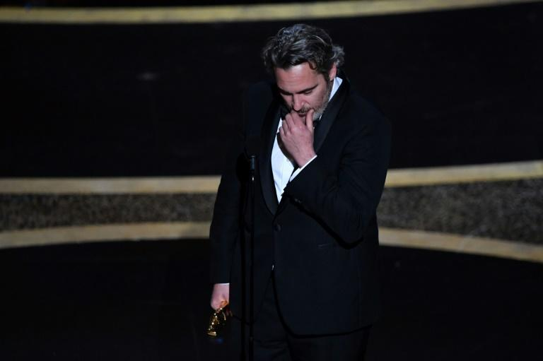"Joaquin Phoenix got emotional as he accepted the best actor Oscar for ""Joker"""