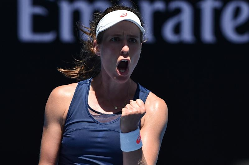 Britain's Johanna Konta reacts after scoring a point against Japan's Naomi Osaka during their Australian Open second round match, in Melbourne, on January 19, 2017