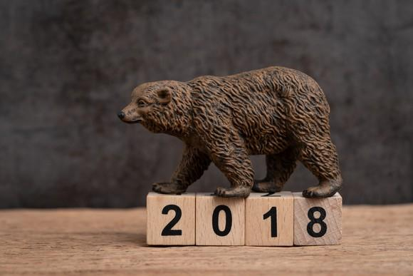 A bear walks over small wooden cubes displaying 2018.