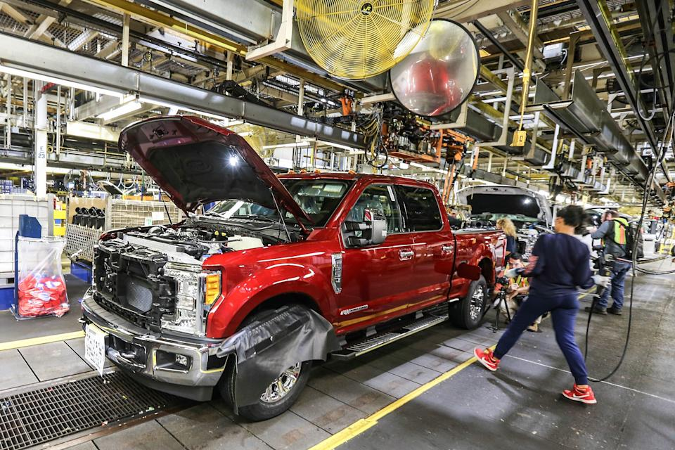 Ford Super Duty trucks on the assembly line at the Kentucky Truck Plant in Louisville, Ky., on Sept. 30, 2016.
