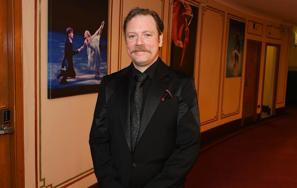 LONDON, ENGLAND - APRIL 09: Rufus Hound poses in the winners room at The Olivier Awards 2017 at Royal Albert Hall on April 9, 2017 in London, England. (Photo by David M. Benett/Dave Benett/Getty Images)