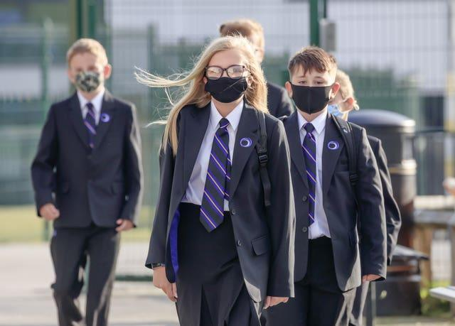 Pupils wear protective face masks at Outwood Academy Adwick in Doncaster (Danny Lawson/PA)
