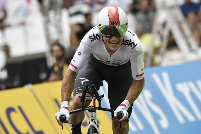 Poland's Michal Kwiatkowski crosses the finish line at the Velodrome stadium at the end of an individual time-trial, the twentieth stage of the 104th edition of the Tour de France cycling race on July 22, 2017 (AFP Photo/PHILIPPE LOPEZ)