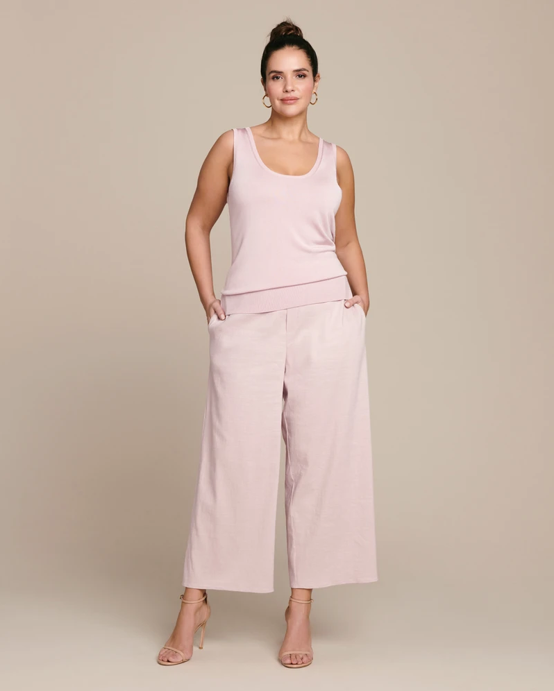 """Linen plays nice with a host of other fibers — even synthetic ones. These premium pink culottes feature linen blended with a touch of stretch for added comfort and flexibility. <br> <br> <strong>Sally LaPointe</strong> Linen Blend Culotte, $, available at <a href=""""https://go.skimresources.com/?id=30283X879131&url=https%3A%2F%2F11honore.com%2Fproducts%2Fstretch-linen-blend-elastic-waist-culotte"""" rel=""""nofollow noopener"""" target=""""_blank"""" data-ylk=""""slk:11 Honore"""" class=""""link rapid-noclick-resp"""">11 Honore</a>"""