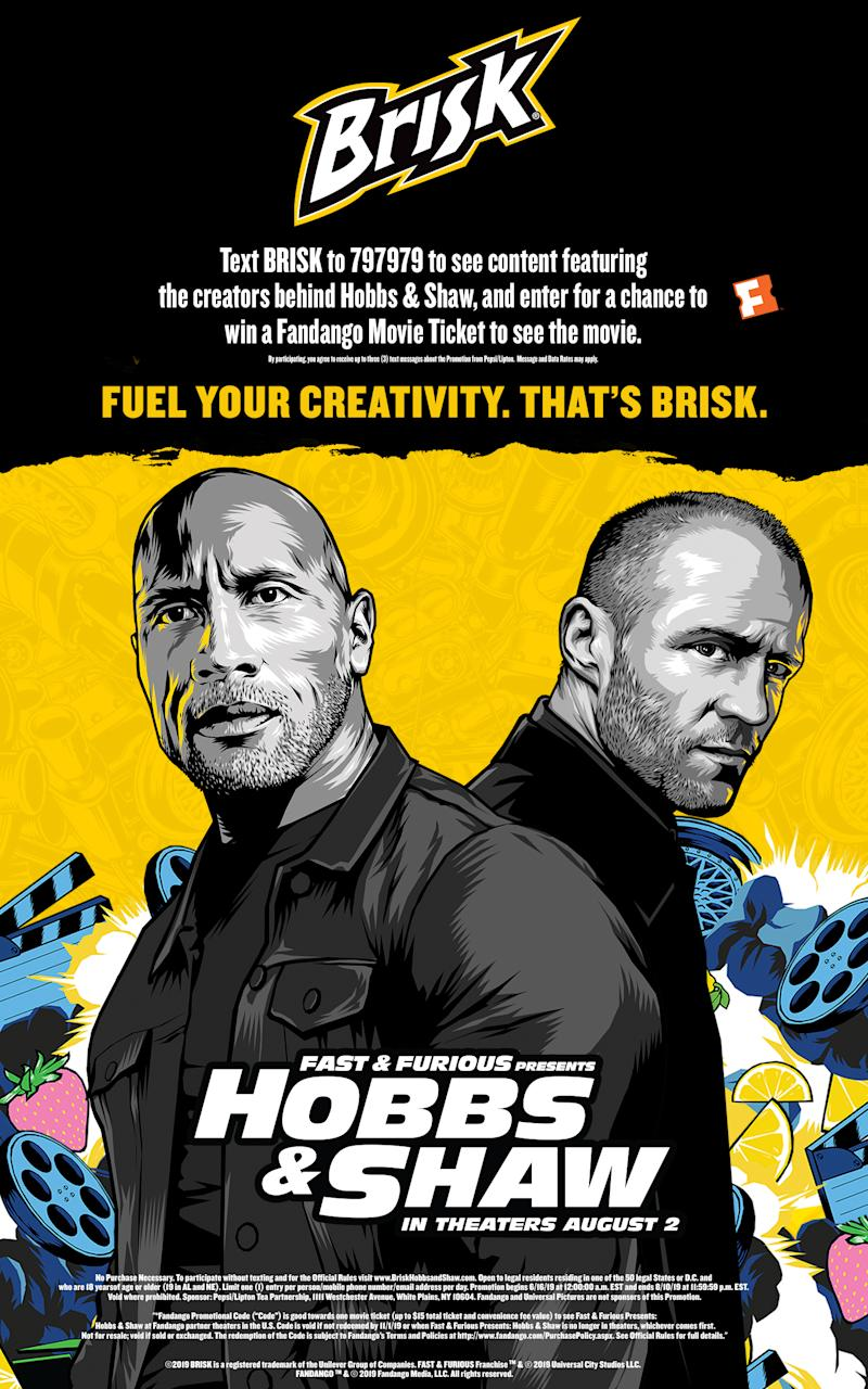 """Brisk Iced Tea and Universal Pictures' ""Fast & Furious Presents: Hobbs & Shaw"" point of sale imagery"