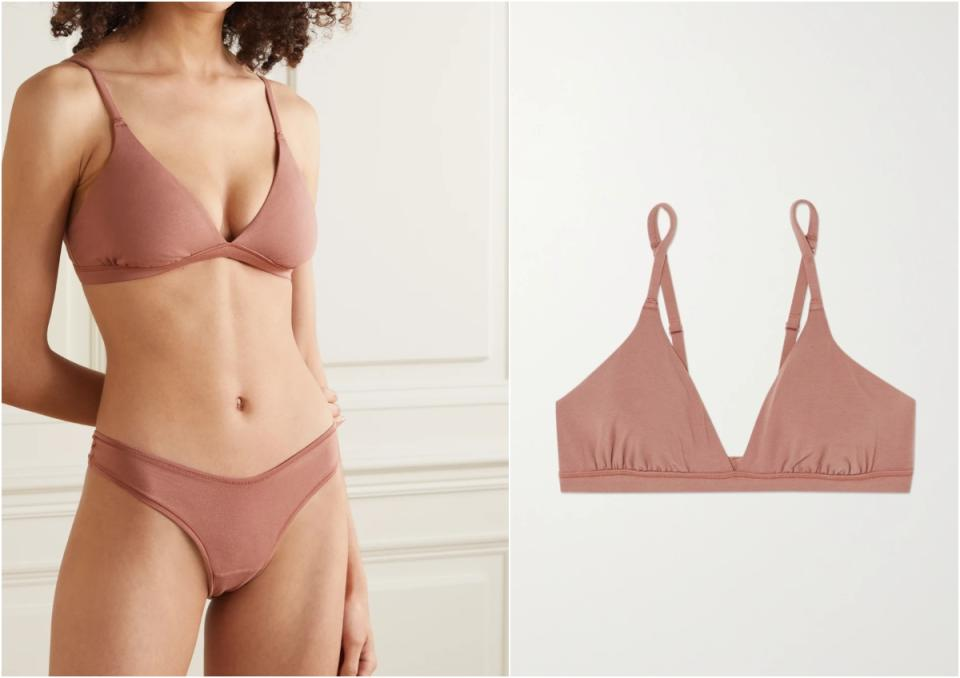 SKIMS Cotton Collection 2.0 cotton-blend jersey bralette - Rose Clay