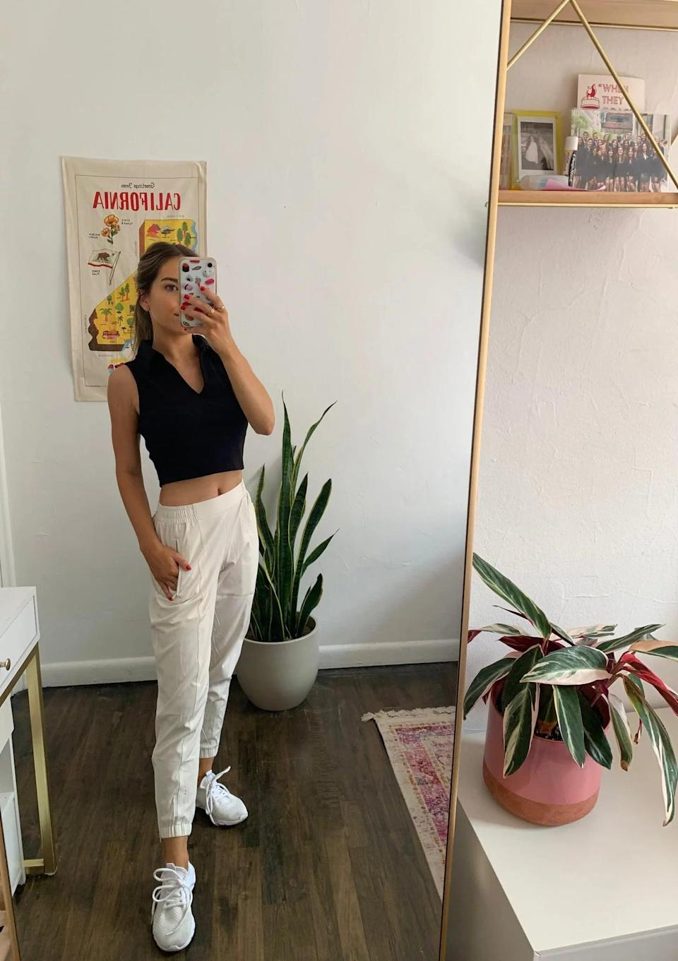 """<p><strong>The item:</strong> <span>Old Navy Mid-Rise StretchTech Jogger Pants</span> ($22-$35, originally $35) </p> <p><strong>What our editor said:</strong> """"Regardless of where I might be, these joggers from Old Navy have the power to transport me anywhere I want. Usually a fan of sweatpants, I decided to upgrade to a lightweight option for summer, and they've made all the difference. These sporty pants give off the perfect """"oh, I'm just on my way to Europe"""" vibe, while also being totally functional for everyday wear. They can be worn as workout pants and paired with a sports bra, or they can be worn as a casual outfit when styled with a crop top and sneakers."""" - Lauren Harano</p> <p>If you want to read more, here is the<a href=""""https://www.popsugar.com/fashion/old-navy-mid-rise-stretchtech-jogger-pants-for-women-review-48478119"""" class=""""link rapid-noclick-resp"""" rel=""""nofollow noopener"""" target=""""_blank"""" data-ylk=""""slk:complete review""""> complete review</a>.</p>"""