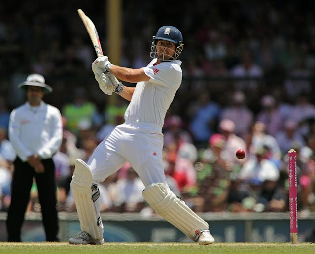 England's Alastair Cook plays a cut shot on day three of the fifth Ashes cricket Test against Australia at the Sydney Cricket Ground on January 5, 2011. TOPSHOTS AFP PHOTO / Greg WOOD (Photo credit should read GREG WOOD/AFP/Getty Images)