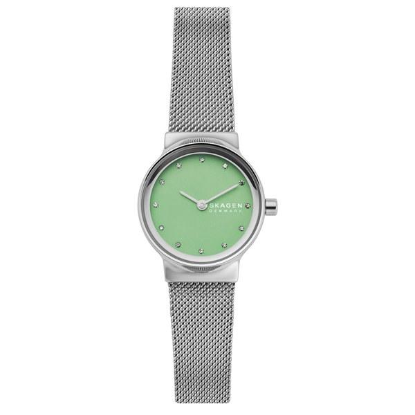 """Add a subtle pop of color to your arm candy with this dainty wristwatch from Skagen. $105, Nordstrom. <a href=""""https://shop.nordstrom.com/s/skagen-freja-crystal-accent-leather-strap-watch-26mm/5314254?origin=category-personalizedsort&breadcrumb=Home%2FWomen%2FJewelry%2FWatches&color=silver%2F%20green%2F%20silver"""">Get it now!</a>"""