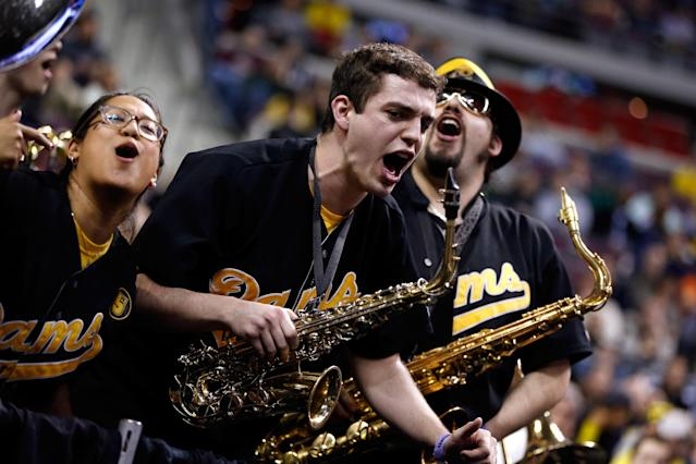 AUBURN HILLS, MI - MARCH 21: Band members from the Akron Zips perform against the Virginia Commonwealth Rams during the second round of the 2013 NCAA Men's Basketball Tournament at at The Palace of Auburn Hills on March 21, 2013 in Auburn Hills, Michigan. (Photo by Gregory Shamus/Getty Images)