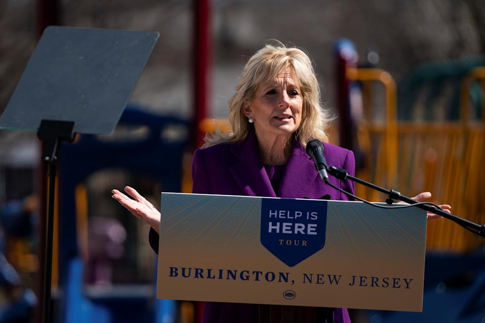 US First Lady Jill Biden delivers remarks at the Samuel Smith Elementary School in Burlington, New Jersey. Dr Biden holds two master's degrees and a PhD in education. Photo: Anna Moneymaker/Reuters