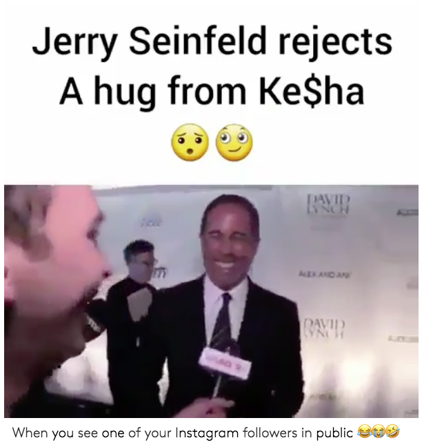 """""""Jerry Seinfeld rejects a hug from Ke$ha. When you see one of your Instagram followers in public."""" (Photo: Twitter)"""