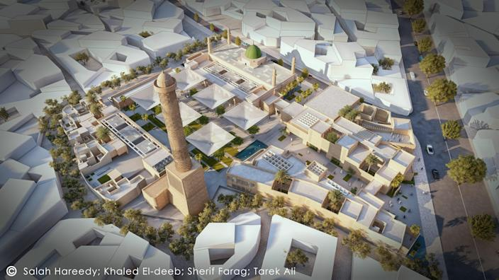 A shot of the proposed mosque complex as it relates to much of Mosul's historic town.