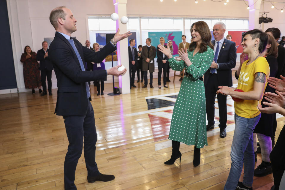 The Duke and Duchess of Cambridge juggling during a special event at the Tribeton restaurant in Galway to look ahead to the city hosting the European Capital of Culture in 2020.