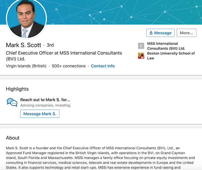 A screenshot of Coral Gables attorney Mark S. Scott's LinkedIn profile identifies him as the CEO of MSS International Consultants (BVI) Ltd. — one of the firms at the heart of the $400 million money-laundering scheme.