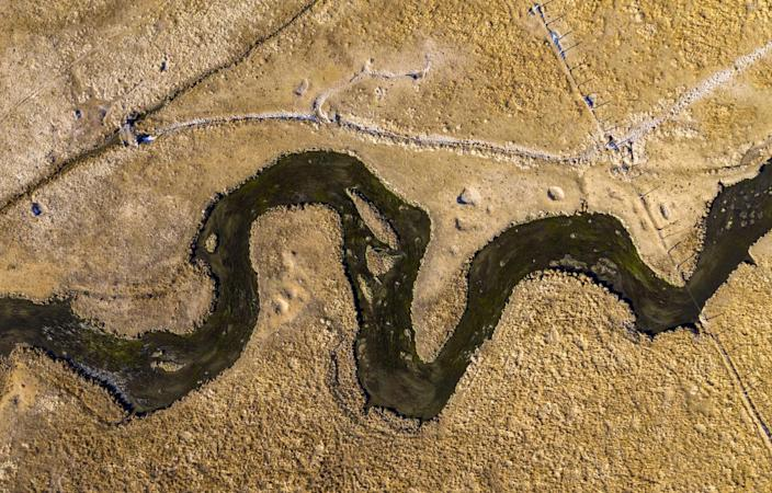 An aerial view of Hot Creek in the Eastern Sierra Nevada, diverted by irrigation ditches