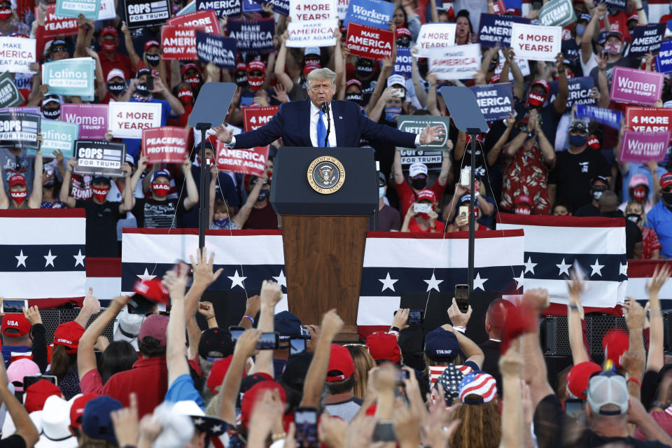 CARSON CITY, NV - OCTOBER 18: President Donald Trump speaks during a campaign rally on October 18, 2020 in Carson City, Nevada. With 16 days to go before the November election, President Trump is back on the campaign trail with multiple daily events as he continues to campaign against Democratic presidential nominee Joe Biden. (Photo by Stephen Lam/Getty Images)