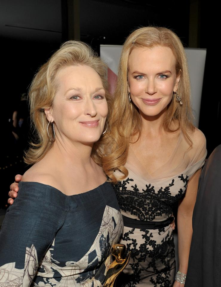 WEST HOLLYWOOD, CA - JANUARY 27:  Actresses Meryl Streep (L) and Nicole Kidman attend the Australian Academy Of Cinema And Television Arts International Awards Ceremony at Soho House on January 27, 2012 in West Hollywood, California.  (Photo by John Shearer/Getty Images)