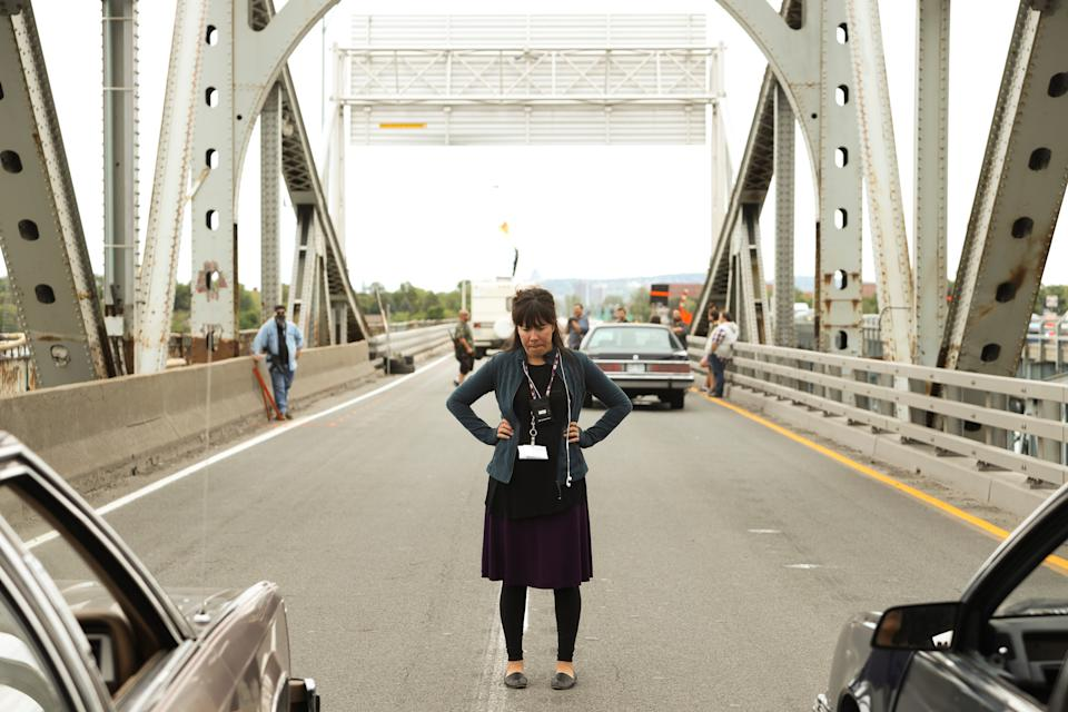 Director & co-writer Tracey Deer on set of BEANS. (Photo by Sebastien Raymond)
